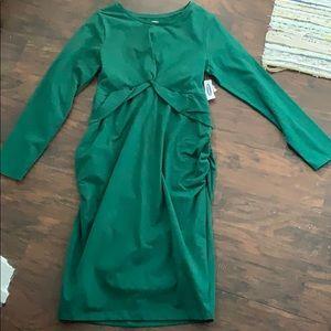 Brand new dark green fitted maternity dress size L